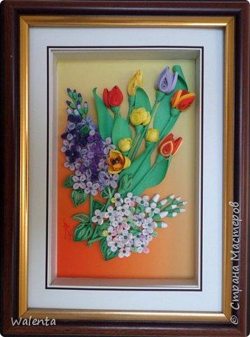 Мои первые тюльпаны. (Училась у Ольги Ольшак)А цветочки сирени изначально делались для гортензии,но что-то панно не сложилось.Все цветочки ушли на другие картины.И вот что получилось фото 8