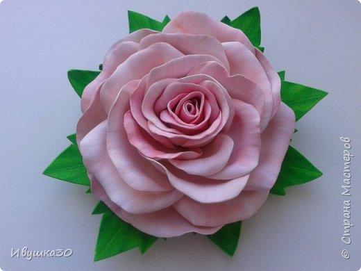 Ну вот и я решила, наконец-то, попробовать поработать с фоамираном.  Очень понравилось! В отличие от атласной ленты цветы из фома получаются более реалистичней. фото 6