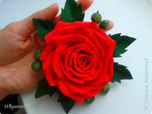 Ну вот и я решила, наконец-то, попробовать поработать с фоамираном.  Очень понравилось! В отличие от атласной ленты цветы из фома получаются более реалистичней. фото 2