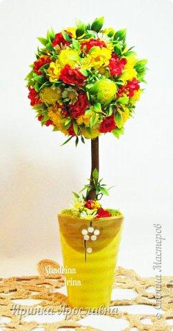 В душе уже весеннее настроение,благодаря ему родились две работы из искусственных цветов: композиция с анемонами и ландышами и солнечный сказочный топиарий:-)  фото 5