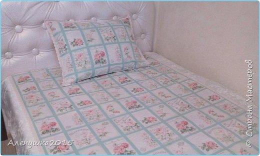 """Из американского хлопка и сатина , используемого в комплекте """"Королевский"""" , но с тесьмой кремового цвета, получился вот такой винтажный комплект постельного белья 1,5 спального .  фото 1"""
