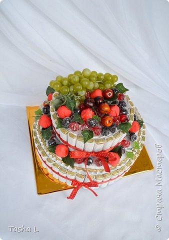 Добрый вечер, жители и соседи СМ! Любите ли Вы сладкое, так как люблю его я? Этот торт был сделан для свекрови на ее юбилей. Шоколад Merci,конфеты Осенний вальс, мармелад Ежевика супер, декоративный виноград и яблоки. Внутрь был спрятан подарок.  Это мой первый торт из конфет.По-этому критика приветствуется. фото 4