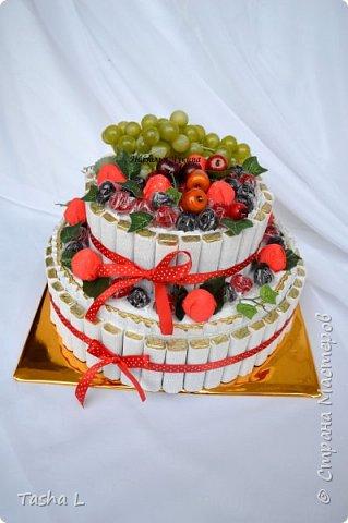 Добрый вечер, жители и соседи СМ! Любите ли Вы сладкое, так как люблю его я? Этот торт был сделан для свекрови на ее юбилей. Шоколад Merci,конфеты Осенний вальс, мармелад Ежевика супер, декоративный виноград и яблоки. Внутрь был спрятан подарок.  Это мой первый торт из конфет.По-этому критика приветствуется. фото 1