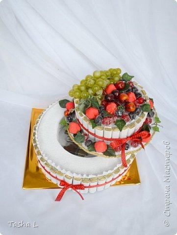Добрый вечер, жители и соседи СМ! Любите ли Вы сладкое, так как люблю его я? Этот торт был сделан для свекрови на ее юбилей. Шоколад Merci,конфеты Осенний вальс, мармелад Ежевика супер, декоративный виноград и яблоки. Внутрь был спрятан подарок.  Это мой первый торт из конфет.По-этому критика приветствуется. фото 2