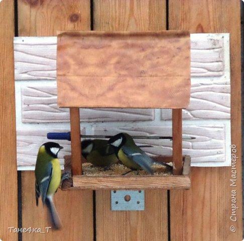 Вот такую простую кормушку для птичек сделали. фото 2
