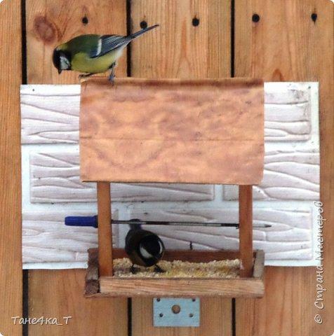 Вот такую простую кормушку для птичек сделали. фото 3