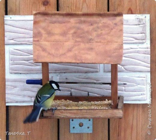 Вот такую простую кормушку для птичек сделали. фото 4
