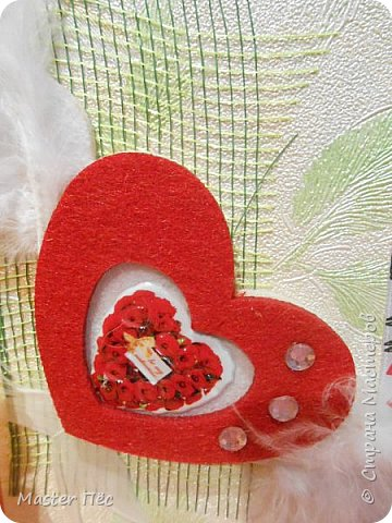 """Всем привет! Сдаю работу на конкурс """"День влюблённых"""". (http://stranamasterov.ru/node/1000874) Решил сделать открытку. Взял за основу готовую открытку и заклеил её обоями, оставшимися от ремонта.  фото 3"""