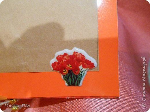 """Всем привет! Сдаю работу на конкурс """"День влюблённых"""". (http://stranamasterov.ru/node/1000874) Решил сделать открытку. Взял за основу готовую открытку и заклеил её обоями, оставшимися от ремонта.  фото 8"""