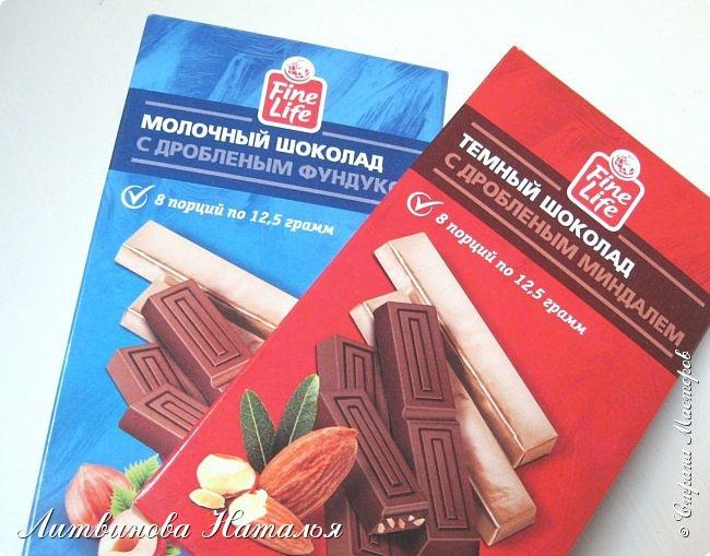 """Вот такая у меня весна... Размер 16*24 16 порционных плиток шоколада по 12,5гр """"Fine Life"""" темный с дробленым миндалем  10 конфет """"Шарлет"""" трюфель 5 конфет """"Марсианка"""" три шоколада фото 7"""