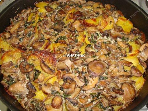 Этот рецепт нашла в и-нете. Это очень-очень вкусно. Если честно, даже не ожидала, что в сливках будет так вкусно! -картофель 18шт (у меня маленький, картофелина размером с небольшое куриное яйцо) -чеснок 4 зубчика -растит.масло для жарки -соль по вкусу -грибы шампиньоны большая банка (не маринованные) -петрушка 30г -сливки жидкие (жирность 10%) 300мл  фото 1