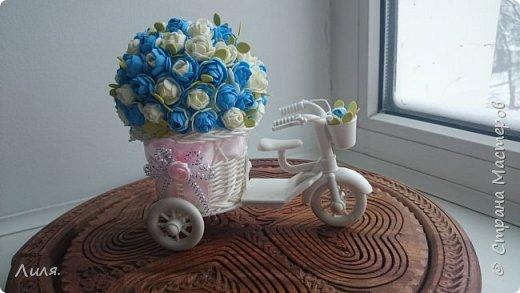 Добрый день,дорогие друзья и гости!!! Очень скучаю по СМ, по общению...всем заглянувшим очень рада! Представляю вашему вниманию цветочный велосипед. Сделан он был в подарок хорошему человеку и другу.  фото 2