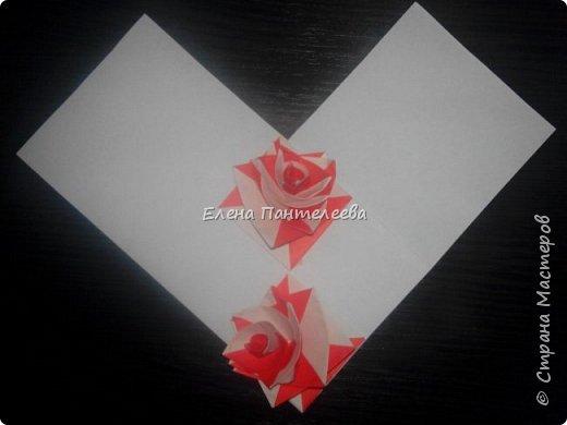 Валентинка с розами из полоски бумаги. фото 33