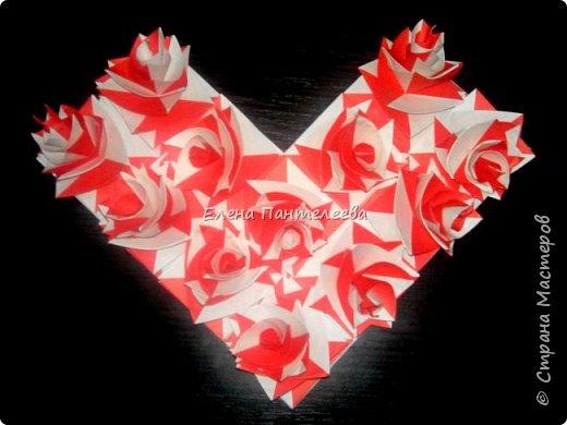 Валентинка с розами из полоски бумаги. фото 34