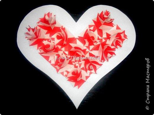 Валентинка с розами из полоски бумаги. фото 37