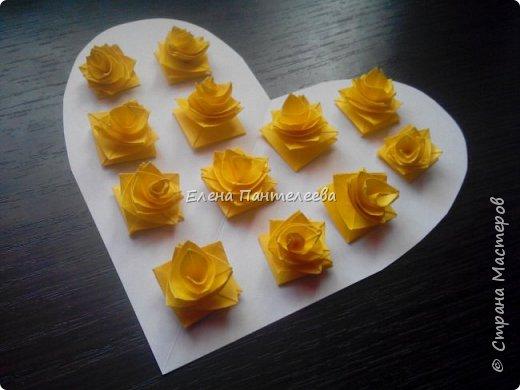 Валентинка с розами из полоски бумаги. фото 42