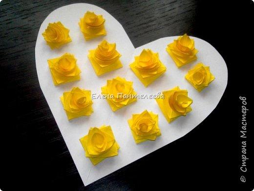 Валентинка с розами из полоски бумаги. фото 41