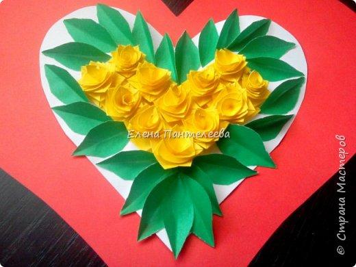 Валентинка с розами из полоски бумаги. фото 44