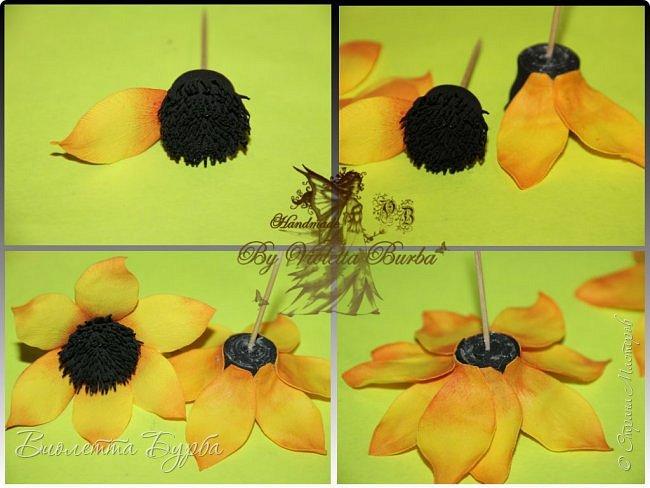 """Доброе время суток, дорогие жители СМ! Предлагаю вашему вниманию Мастер-Класс Подсолнухов из фоамирана. Делать их совсем не сложно, а в итоге, у вас получаться симпатичные заколочки или резиночки для маленьких модниц. Также, можно """"посадить"""" цветочек на ободок, брошь или сделать полноценный цветок для вазы. фото 7"""