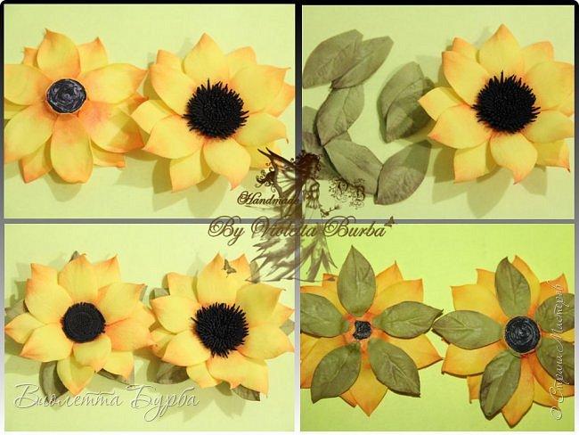 """Доброе время суток, дорогие жители СМ! Предлагаю вашему вниманию Мастер-Класс Подсолнухов из фоамирана. Делать их совсем не сложно, а в итоге, у вас получаться симпатичные заколочки или резиночки для маленьких модниц. Также, можно """"посадить"""" цветочек на ободок, брошь или сделать полноценный цветок для вазы. фото 8"""
