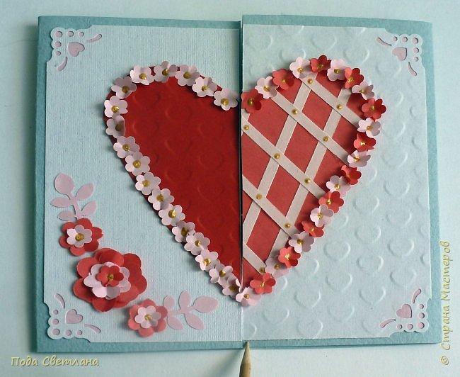 """Здравствуйте! Ко Дню влюблённых придумалась открыточка....хочу представить Вашему вниманию! Соединить два сердца влюблённых """"он"""" и """"она""""... """"они"""" рядом и """"они"""" одно...сердце и сердца влюблённых продолжение друг в друге... Надеюсь у меня получилось это передать... фото 1"""