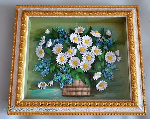 Всем здравствуйте!!! Эту картину сделала еще в прошлом году на день рождения маме. Размер примерно 32х27 см. Использовались полоски 1,5 мм. Фон тонирован акриловыми красками. фото 7