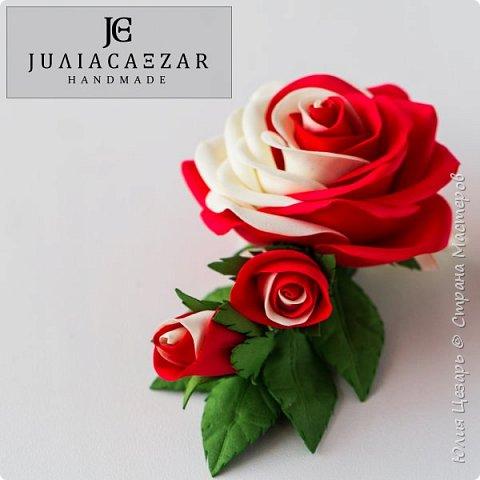 Зажим с розой из фоамирана фото 4