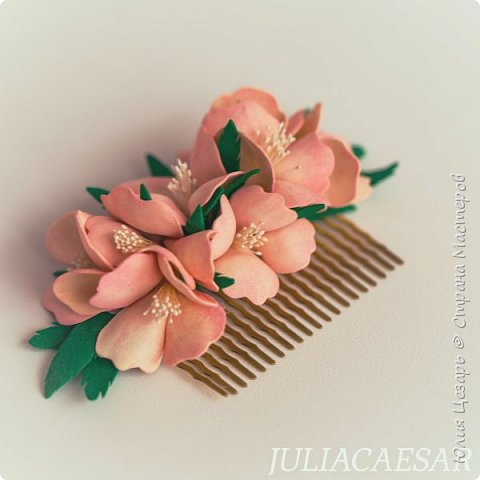 Гребень с цветами из фоамирана фото 2