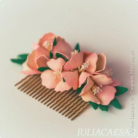 Гребень с цветами из фоамирана фото 3