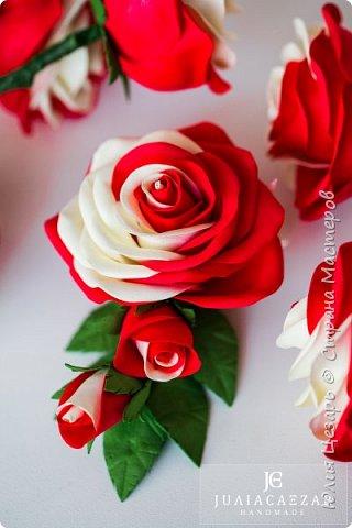 Зажим с розой из фоамирана фото 2
