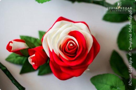 Зажим с розой из фоамирана фото 1