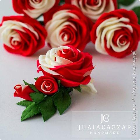 Зажим с розой из фоамирана фото 3