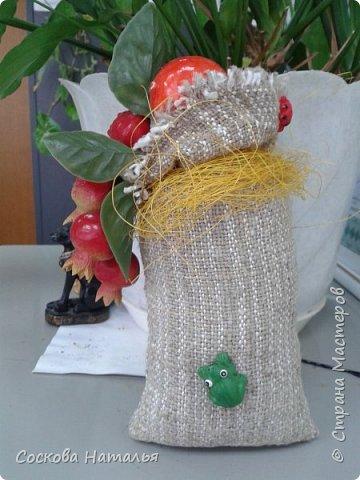 """Здравствуйте мои дорогие жители """"Страны Мастеров"""" !!!  Вот нашла минутку, чтобы поделиться своими работами с Вами. Эти мешочки я дарила сотрудникам компании на """"Рождество"""", по-этому все фото сделаны в офисе на рабочих местах. 1.Мешочек с фруктами. фото 2"""
