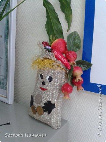 """Здравствуйте мои дорогие жители """"Страны Мастеров"""" !!!  Вот нашла минутку, чтобы поделиться своими работами с Вами. Эти мешочки я дарила сотрудникам компании на """"Рождество"""", по-этому все фото сделаны в офисе на рабочих местах. 1.Мешочек с фруктами. фото 3"""