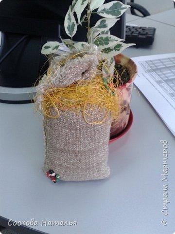 """Здравствуйте мои дорогие жители """"Страны Мастеров"""" !!!  Вот нашла минутку, чтобы поделиться своими работами с Вами. Эти мешочки я дарила сотрудникам компании на """"Рождество"""", по-этому все фото сделаны в офисе на рабочих местах. 1.Мешочек с фруктами. фото 11"""