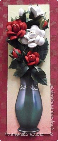 """Доброго времени суток всем жителям Страны Мастеров! Хочу показать вам  работу в любимой мною технике квиллинг """"Розы в вазе"""". Очень люблю её! Надеюсь, и вам она придётся по душе... фото 10"""