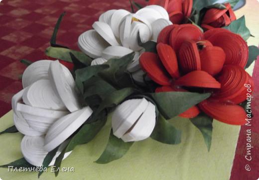"""Доброго времени суток всем жителям Страны Мастеров! Хочу показать вам  работу в любимой мною технике квиллинг """"Розы в вазе"""". Очень люблю её! Надеюсь, и вам она придётся по душе... фото 6"""