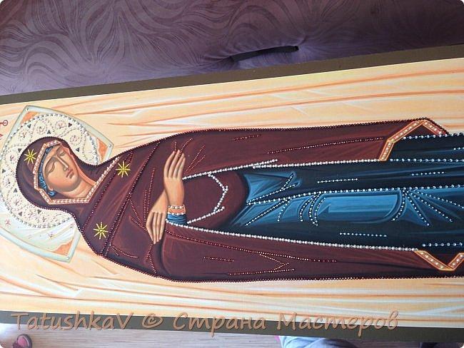 Украшение Плащаницы Богородицы стразами Сваровски, жемчугом фото 4