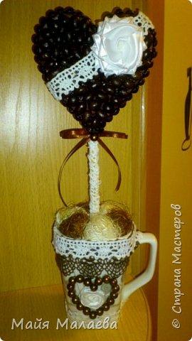 Топиарий из кофейных зёрен сердце  фото 1
