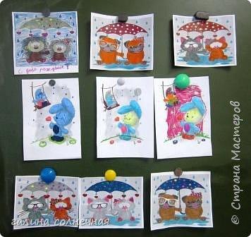 Влюбленные животные, он и она. Вместе, под одним общим зонтом. К Дню святого Валентина предложила детям выбрать картинку из интернета и разрисовать фломастерами.Цвет выбирали сами.Распечатала на принтере картинку детям. фото 3