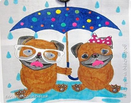 Влюбленные животные, он и она. Вместе, под одним общим зонтом. К Дню святого Валентина предложила детям выбрать картинку из интернета и разрисовать фломастерами.Цвет выбирали сами.Распечатала на принтере картинку детям. фото 1