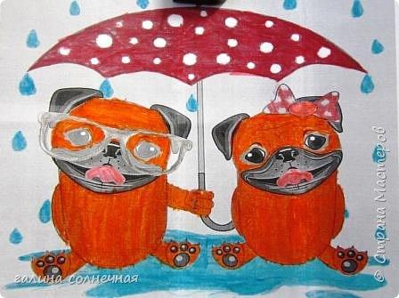 Влюбленные животные, он и она. Вместе, под одним общим зонтом. К Дню святого Валентина предложила детям выбрать картинку из интернета и разрисовать фломастерами.Цвет выбирали сами.Распечатала на принтере картинку детям. фото 2