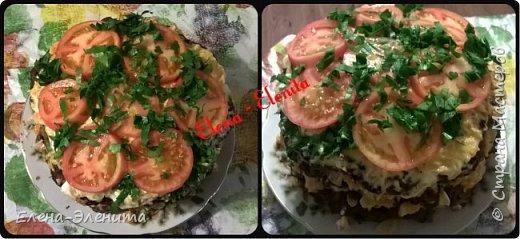 Для коржей(блинов): Печень (800 граммов), молоко (250 граммов), мука (200 гр), яйца (3 шт), соль, растительное масло для жарки.  Коржи: измельчаем печень в мясорубке, добавим яйца, молоко, растительное масло, перемешиваем, солим.  Выпекаем лепешки, обжариваем их с двух сторон.  Для начинки: Майонез,морковь,лук, чеснок.  Морковь с луком обжарить,добавить чеснок,майонез.Коржи смазать. Украсить помидорами и зеленью.    ВОт такой лёгкий,но безумно вкусный торт,а ещё хорошо при диете Дюкана его,стоит только майонез заменить йогуртом от Данон 1,5 % или если нашли йогурт ниже 1%,то Вам повезло)))