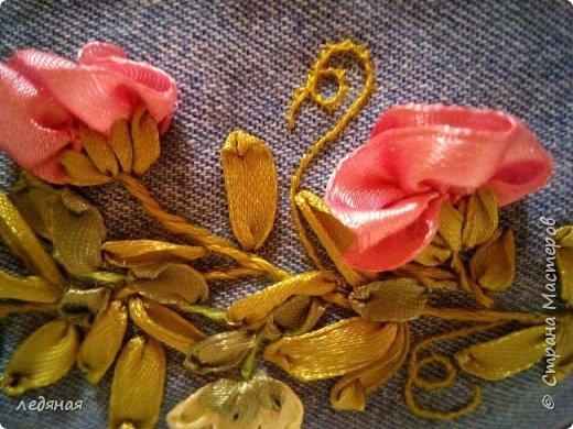 """Косметичка из светлой джинсы с мотивом """"Вьюнок"""" размер 19 на 9  фото 4"""