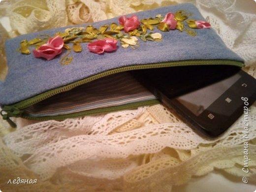 """Косметичка из светлой джинсы с мотивом """"Вьюнок"""" размер 19 на 9  фото 3"""