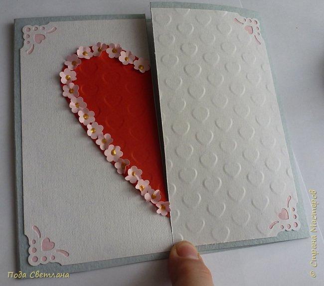 """Здравствуйте! Ко Дню влюблённых придумалась открыточка....хочу представить Вашему вниманию! Соединить два сердца влюблённых """"он"""" и """"она""""... """"они"""" рядом и """"они"""" одно...сердце и сердца влюблённых продолжение друг в друге... Надеюсь у меня получилось это передать... фото 9"""