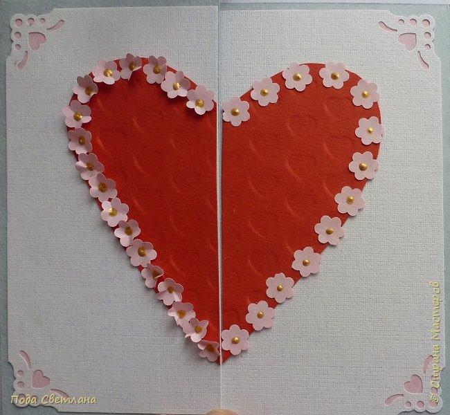 """Здравствуйте! Ко Дню влюблённых придумалась открыточка....хочу представить Вашему вниманию! Соединить два сердца влюблённых """"он"""" и """"она""""... """"они"""" рядом и """"они"""" одно...сердце и сердца влюблённых продолжение друг в друге... Надеюсь у меня получилось это передать... фото 16"""