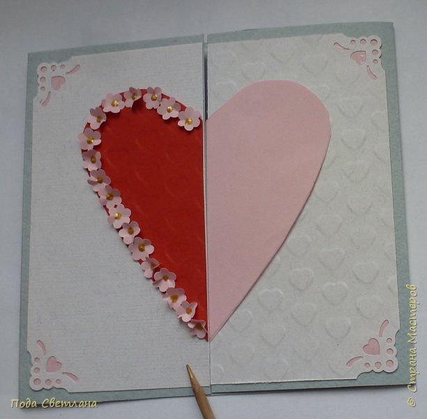 """Здравствуйте! Ко Дню влюблённых придумалась открыточка....хочу представить Вашему вниманию! Соединить два сердца влюблённых """"он"""" и """"она""""... """"они"""" рядом и """"они"""" одно...сердце и сердца влюблённых продолжение друг в друге... Надеюсь у меня получилось это передать... фото 10"""