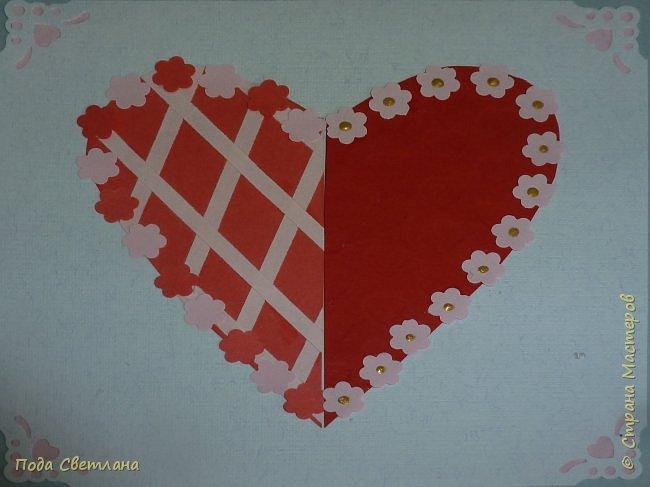 """Здравствуйте! Ко Дню влюблённых придумалась открыточка....хочу представить Вашему вниманию! Соединить два сердца влюблённых """"он"""" и """"она""""... """"они"""" рядом и """"они"""" одно...сердце и сердца влюблённых продолжение друг в друге... Надеюсь у меня получилось это передать... фото 15"""
