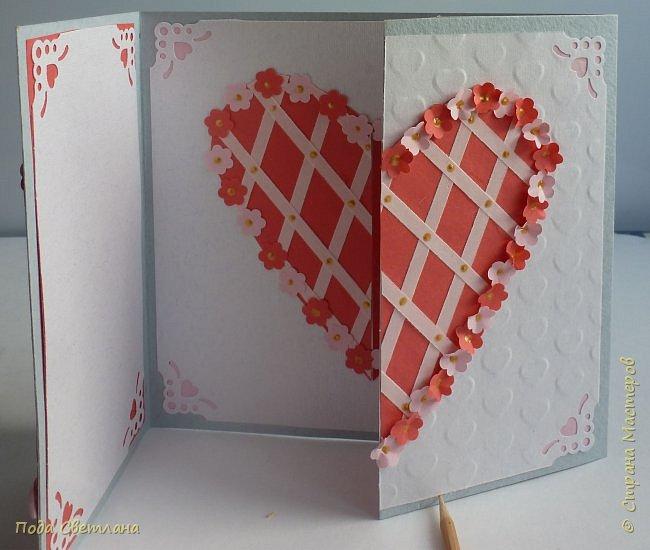 """Здравствуйте! Ко Дню влюблённых придумалась открыточка....хочу представить Вашему вниманию! Соединить два сердца влюблённых """"он"""" и """"она""""... """"они"""" рядом и """"они"""" одно...сердце и сердца влюблённых продолжение друг в друге... Надеюсь у меня получилось это передать... фото 17"""